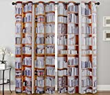 "Digital Graphic Print Bookshelves Designer's Collection Window Curtain 2 Panel 108″Wx84L"" Exclusive Design Review"
