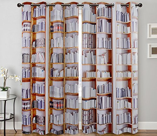 Digital Graphic Print Bookshelves Designer's Collection Window Curtain 2 Panel 108
