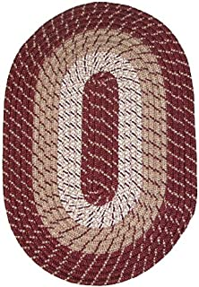 product image for Plymouth 5' Round Braided Rug Burgundy Made in New England