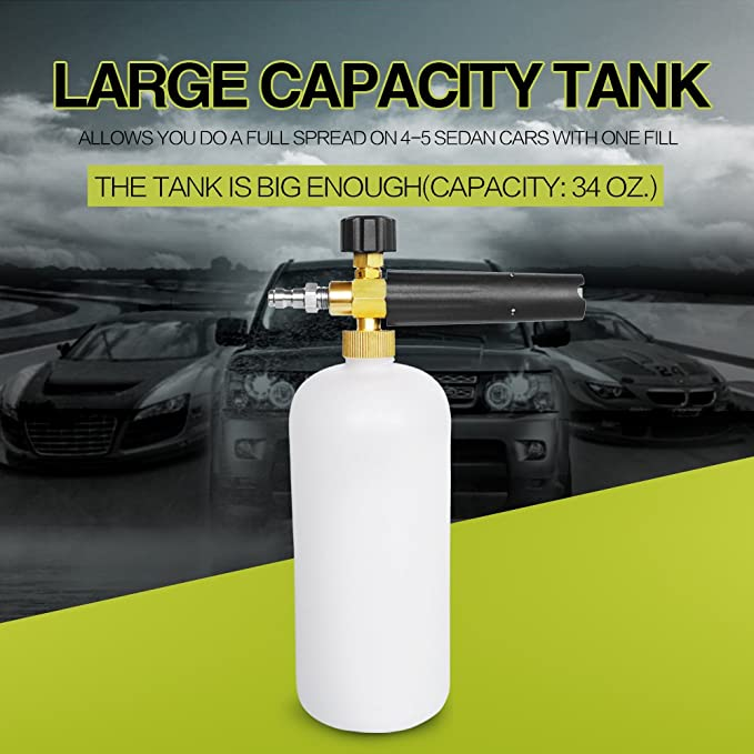 AutoCare - Dispensador de jabón ajustable de espuma para pistola de cañón de nieve, con conector rápido de 1/4