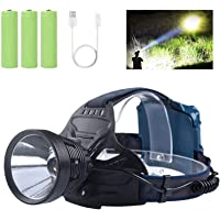 Professional LED Rechargeable Headlamps, Brightest 10000 Lumens Headlamps Flashlights for Adults with 4 Light Modes…