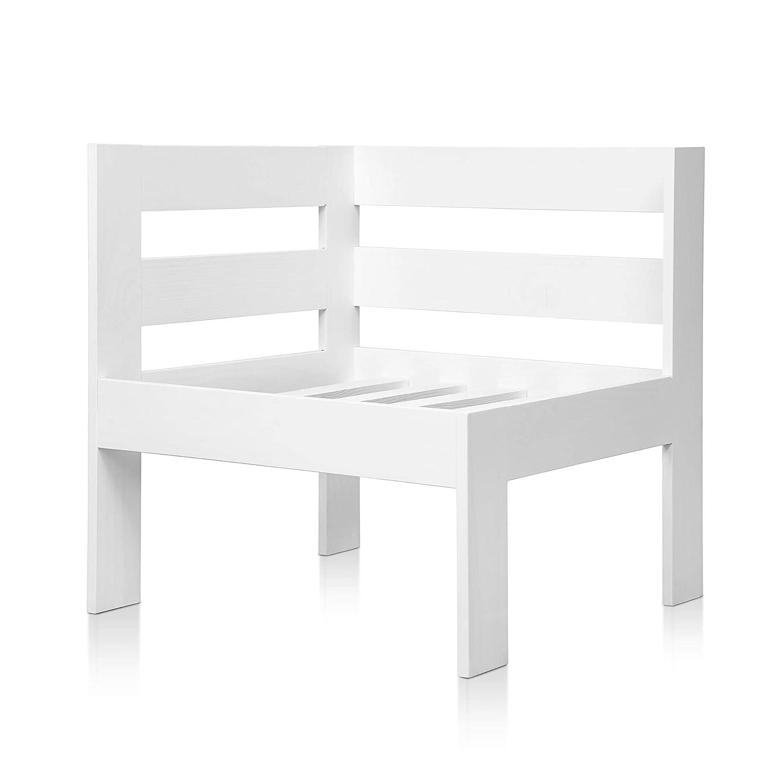SUENOSZZZ - Sofa Jardin de Madera de Pino Color Blanco, MEDITERRANEO Mod. Izquierdo. Muebles Jardin Exterior. Silla para Patio y terraza. Sillon sin ...