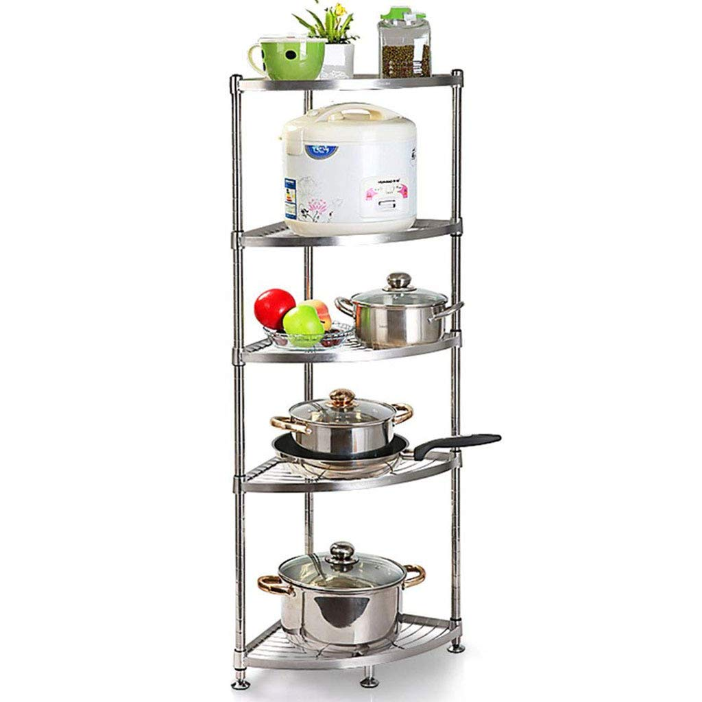 DDSHELF Vertical Shelf Stainless Steel Kitchen Triangle Rack Corner Rack Put Pot Shelf Storage Supplies Floor Multi-Storey Office Bathroom Adjustable Display Stand (Color : 5tier, Size : 3535cm)