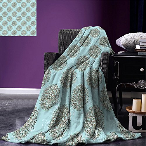 - smallbeefly Dahlia Flower Super Soft Lightweight Blanket Exotic Boho Image of Native American Hollow Stem Fresh Garden Summertime Oversized Travel Throw Cover Blanket Blue Brown