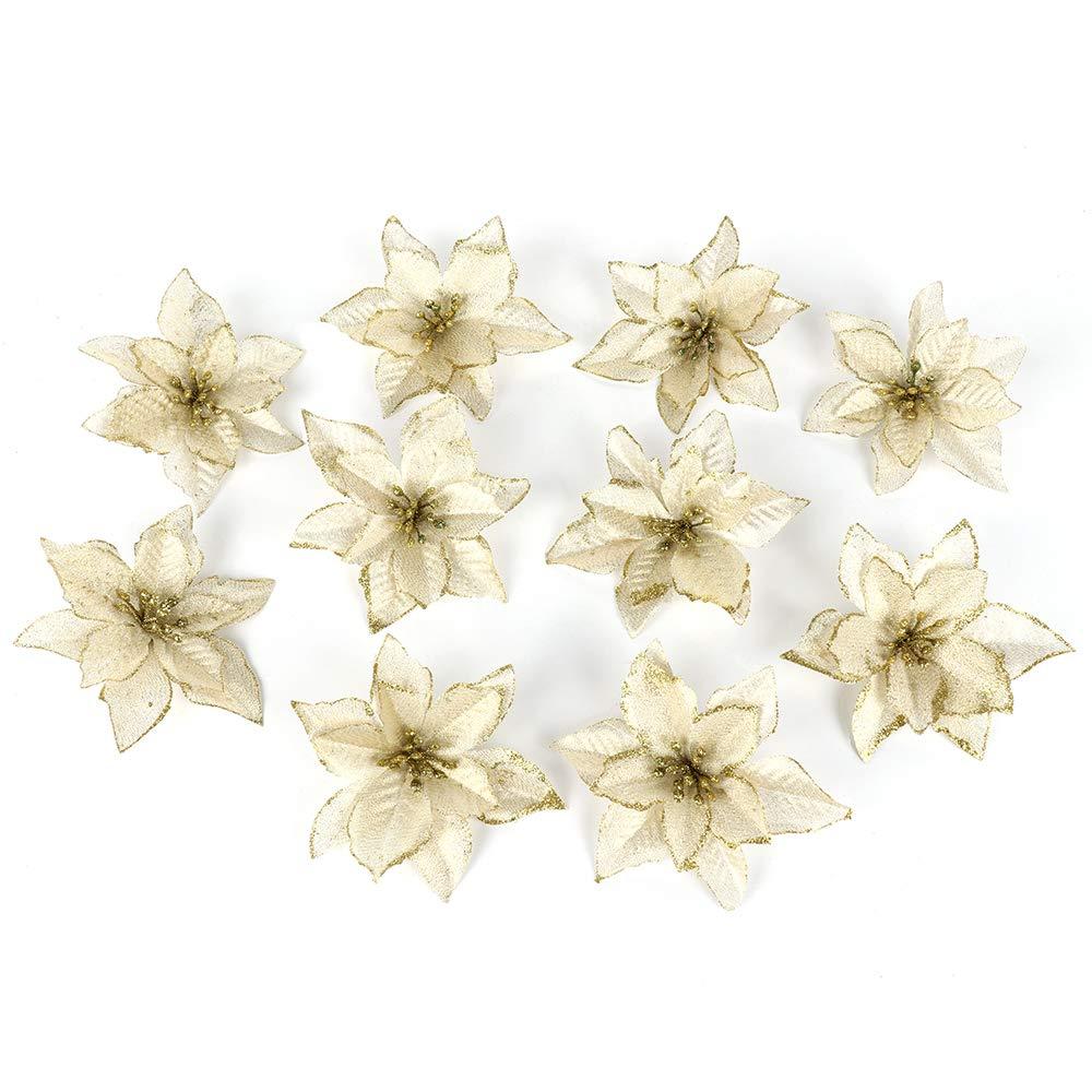 White TRIEtree 10Pcs Phnom Penh Christmas Flowers Artificial Fabric Simulation Flower Wedding Christmas decorations