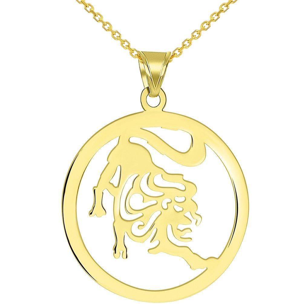 Solid 14k Yellow Gold Round Leo Zodiac Symbol Cut-Out Lion Pendant Necklace, 16''