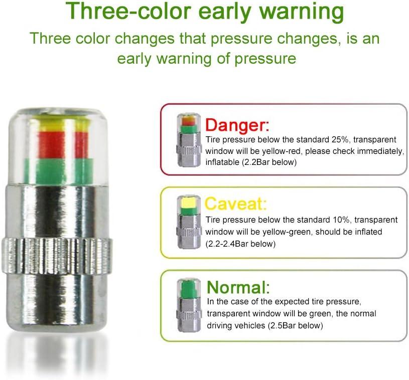 Topuality 4PCS auto monitor della pressione dei pneumatici auto pneumatico gage allarme sensore indicatore tappi valvola