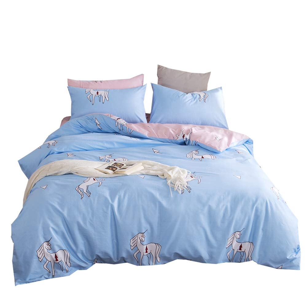 BuLuTu Animal Teen Bedding Twin Blue/Pink Egyptian Cotton Boys Girls,2018 Premium Reversible Bed Kids Duvet Cover Twin Set Zipper Closure,Lightweight,Super Soft,No Comforter