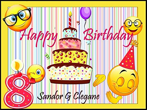 Custom Home Décor Cake and Goofy Еmoji Birthday Poster for Kids - Size 24x36, 48x24, 48x36; Personalized Number Candle and Emoji Birthday Banner Wall Decor - Handmade Party Supply Poster Print