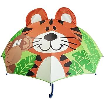 Partiss paraguas para niños, Infantil, Green Tiger, talla única