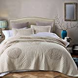 Quilts King Size 100% Cotton Solid Champagne Modern 3D Floral Pattern Patchwork Bedspread King Size Quilts Coverlets Set with Shams by MicBridal