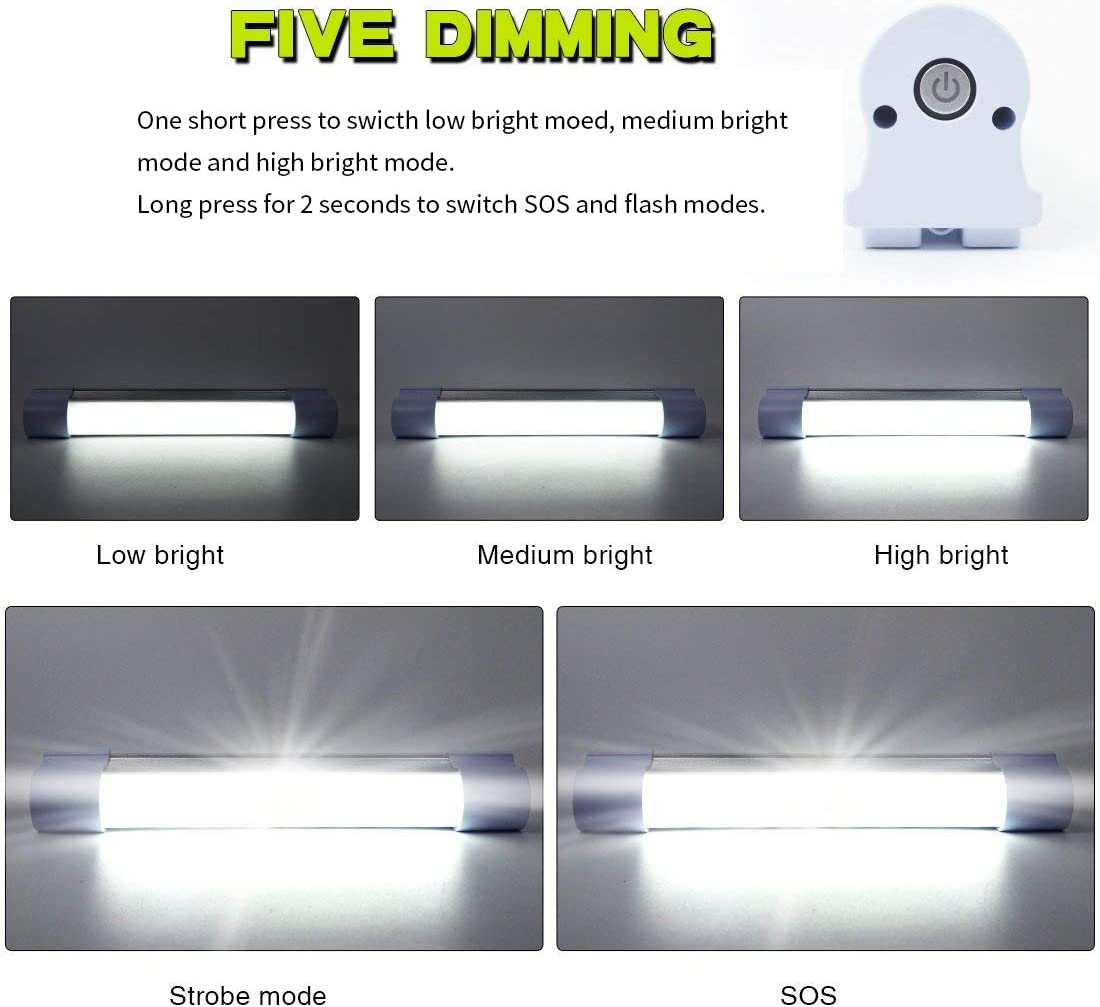 LETOUR LED Tube Magnetic Work Light Bar 120W 6000Lumens 5 Dimmable Levels Campin