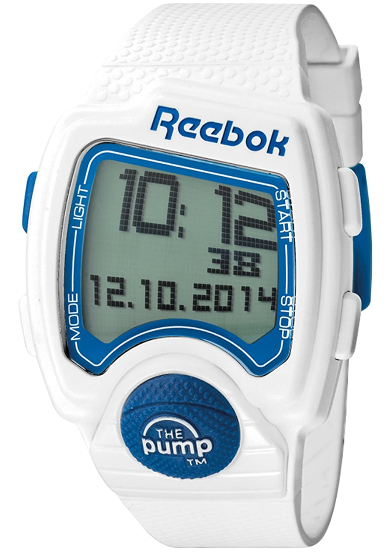 203c139fbf9feb Reebok Pump Men s Quartz Watch with LCD Dial Digital Display and White  Silicone Strap RC-PLI-G9-PWPW-WL  Amazon.co.uk  Watches