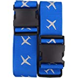 Luggage Strap Suitcase Belts Travel Accessories 2-Pack(Blue)