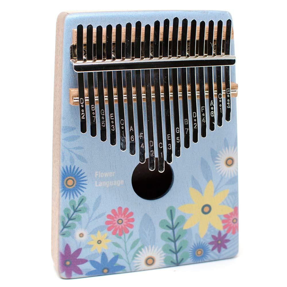 KENPMA 17-Note Kalimba 17 Keys Thumb Piano Solid Mahogany Finger Mbira with Tuning Hammer