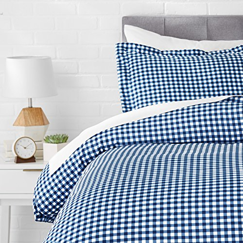 AmazonBasics Microfiber Duvet Cover Bed Set, Lightweight and Soft, Twin / Twin XL, Gingham Plaid