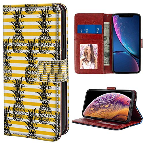 (Grunge Retro Striped Background with Pineapple Figures Vintage Hippie Graphic Black and Earth Yellow Wristlet Wallet Case Fit Apple iPhone Xr (2018) [6.1