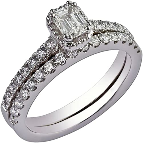 Amazon Com Emerald Cut 1 45 Ct Solitaire Bridal Wedding Ring Set