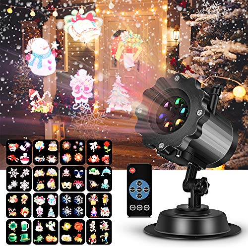 (LED Projector Light for Christmas Party Garden Halloween Wedding Decoration, Waterproof Holiday Spotlight Landscape Lamp for Indoor Outdoor Use Remote Control & 16 Slides)