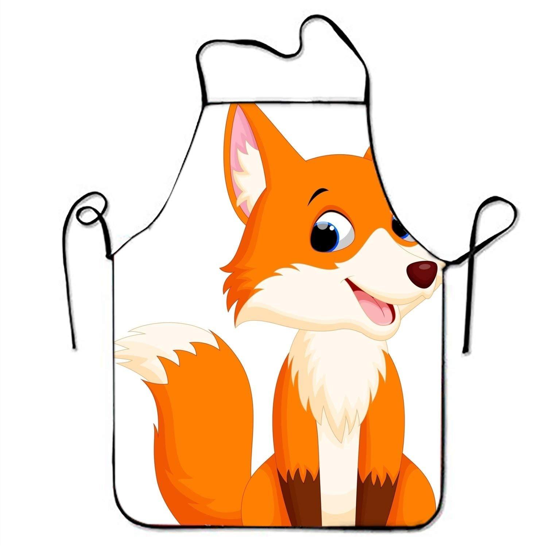 Cute Fox Illustrationキッチンエプロン女性と男性用調節可能なネックストラップレストランホームシェフのよだれかけエプロン料理BBQグリル   B07FXBW3H1