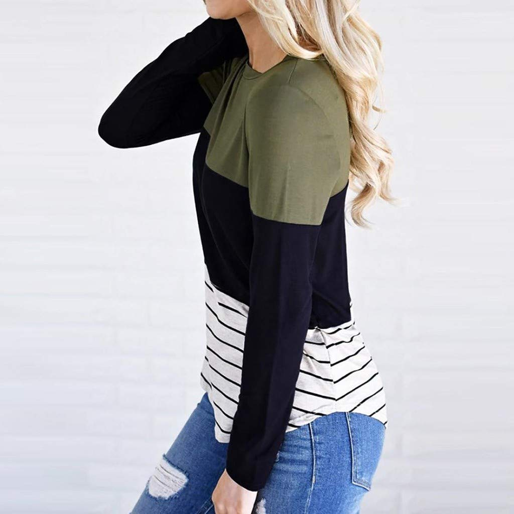 Women Maternity Long Sleeve Striped Nursing Tops T-Shirt for Breastfeeding