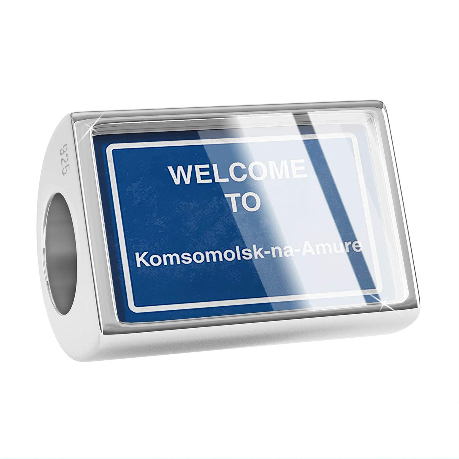 NEONBLOND Custom Charm Sign Welcome to Komsomolsk-na-Amure 925 Sterling Silver Bead