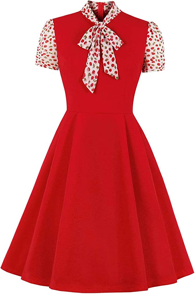60s Dresses | 1960s Dresses Mod, Mini, Hippie Wellwits Womens Keyhole Bow Tie Front 1940s Vintage Collared Dress £12.99 AT vintagedancer.com