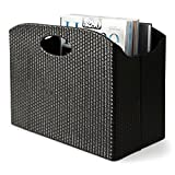 Blu Monaco - Quality Leather Magazine Basket Holder Bin Rack & Storage - (Woven Black) - Great for coffee table, side table, living room, reception desk