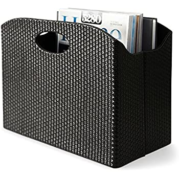 Blu Monaco - Quality Leather Magazine Basket Holder Bin Rack & Storage - (Woven Black) - Great for coffee table, side table, living room, reception desk