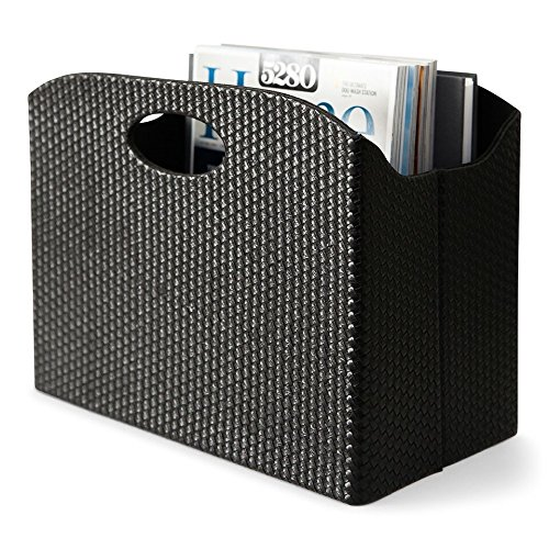- Blu Monaco - Quality Leather Magazine Holder - Basket with Handles - Magazine Rack - Floor or Table - (Woven Black) - Great Stand for Coffee Table, Side Table, Living Room, Reception Desk, Bathroom