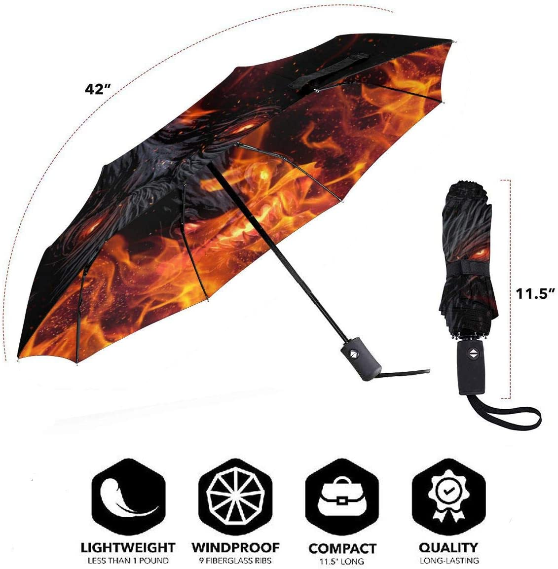 Fire Wolf Automatic Open Folding Compact Travel Umbrellas For Women