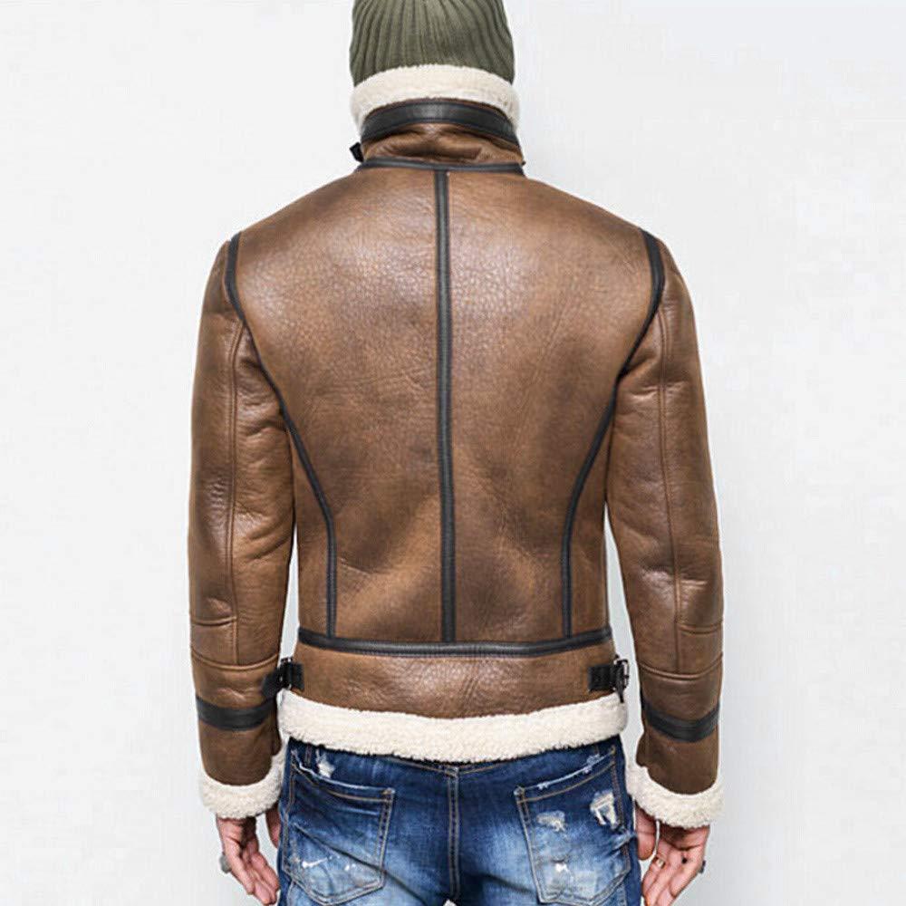Amazon.com: Men Autumn Winter High Neck Warm Fur Line Lapel Leather Zipper Outwear Top Coat (Size:XXXXL, Brown): Beauty
