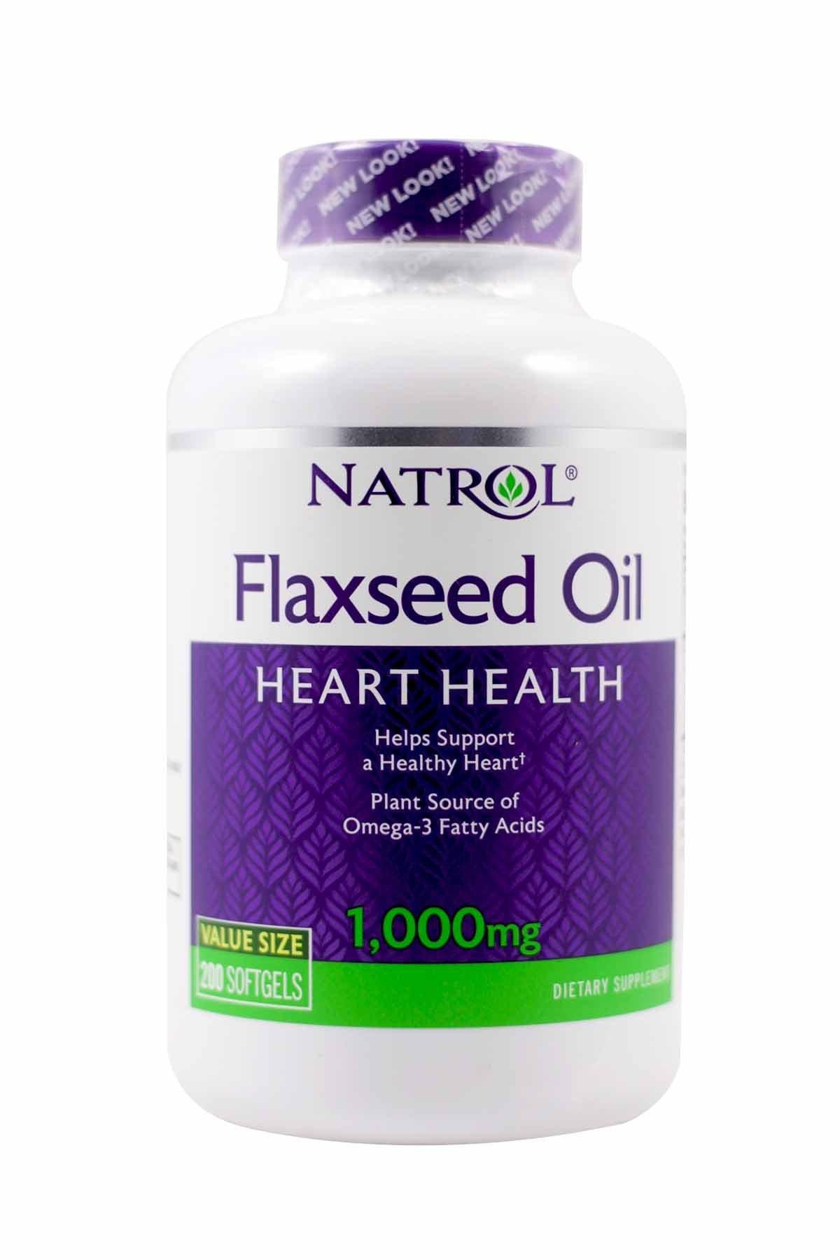 Natrol Omega-3 Flax Seed Oil, 1000 mg, 200 Softgels, (Pack of 2)