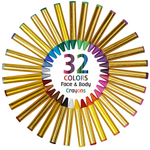 Dress Up America Fun Stix 32 Color Safe & Non-Toxic Face and Body Paint Crayons Mega Pack - Includes Neon -