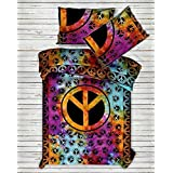 Indian Duvet Peace Sign Doona Covers Ethnic Twin Size Mandala Tapestry Cover Cotton Throw Handmade Bedding Set With 1 Pillow Case (Multi)