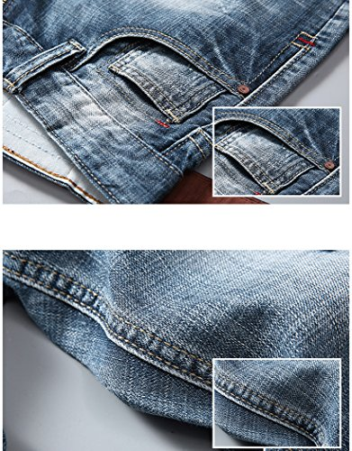 IWOLLENCE Men's Fashion Ripped Distressed Straight Fit Denim Shorts With Hole Blue-US 30