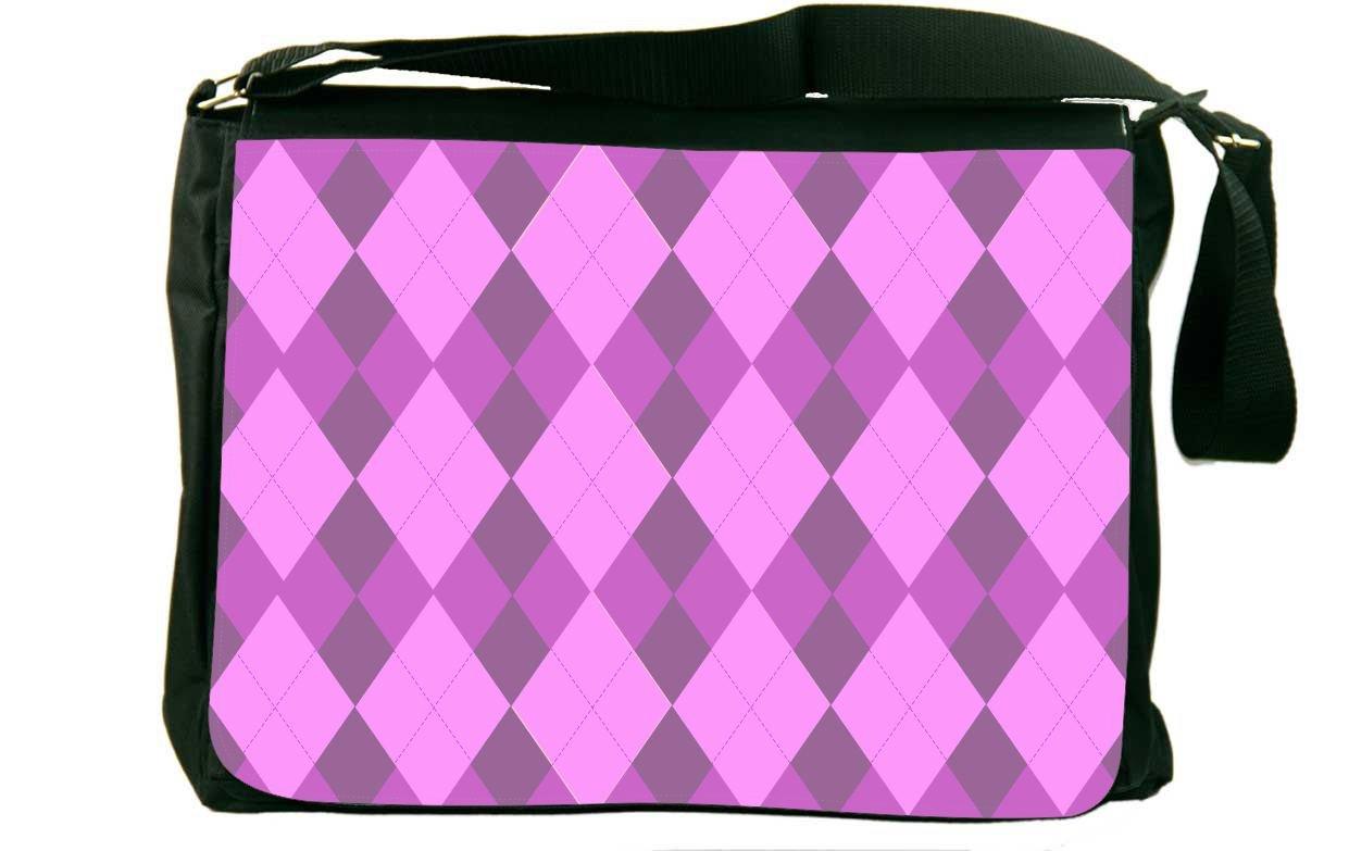 Rikki Knight Triple Purple within Purple Argyle Messenger Bag School Bag