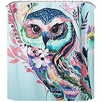 Grace Duet Mildew Resistant Fabric Shower Curtains Digital Printing  Waterproof Polyester Eco Friendly Antibacterial 72 X 72 Inches (Owl)