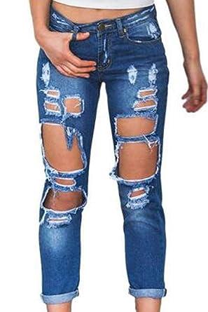 Pantalones Vaqueros Rasgados De Las Mujeres Mezclilla ...