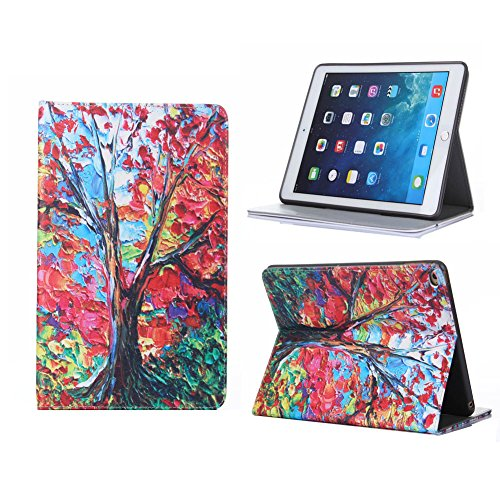 Oil Painting Art Series Maple Tree Style Smart Wallet Leather Case Stand with Card Holder for Apple iPad Air 2(iPad 6)(with Sleep/Wake Function)