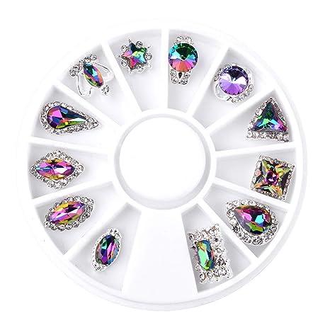 12pcs de decoración de uñas Arte para Mujer DIY Adorno Navidad Serie Parche Dorado