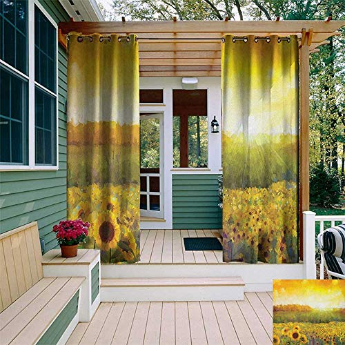 leinuoyi Sunflower, Outdoor Curtain Set of 2 Panels, Landscape with A Golden Sunflower Field and Distant Hill at Sunset Warm Colors, for Patio Waterproof W120 x L96 Inch Orange Yellow ()