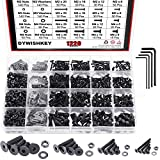 DYWISHKEY 1220 Pieces M2 M3 M4 M5, 10.9 Grade Alloy Steel Hex Flat Head Cap Bolts Nuts Washers Assortment Kit with Hex Wrenches