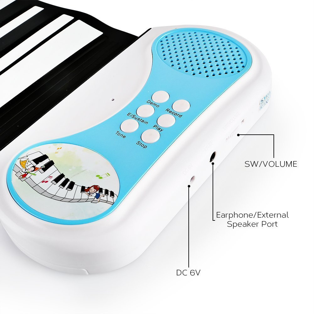 Children's Piano Electronic Digital Music Piano Keyboard 49 Key Foldable Recording Feature 8 Different Tones Build-in Speaker Easy to Learn,Blue by Anyer Piano (Image #5)