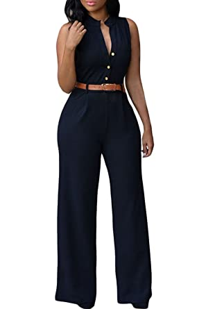 49f97eccfe8 roswear Women s Sexy Plunge V Neck Belted Wide Leg Jumpsuits Romper Black  Small