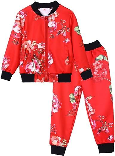 LZH Bebé Niña Deporte Chándal Cremallera Flor Pantalones Sudadera Pantalones Deportivos Chaqueta + Pantalones: Amazon.es: Ropa y accesorios