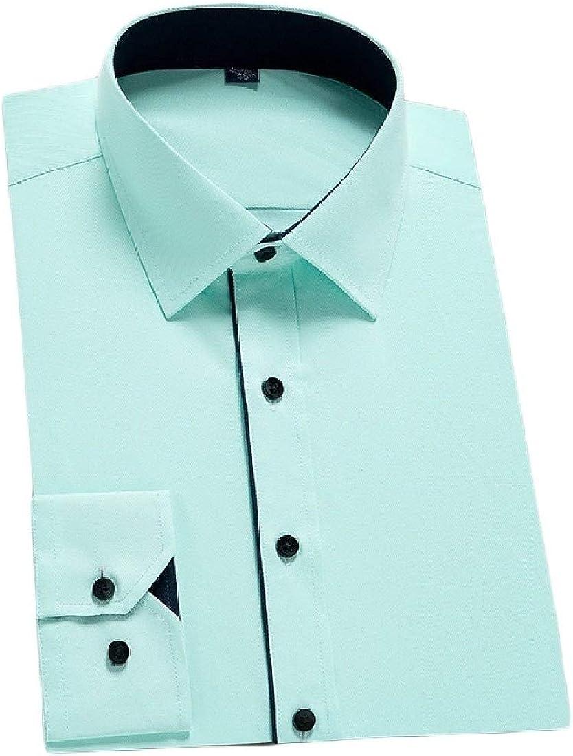 Winwinus Men Business Oversize Silm Long-Sleeve Button Down Shirt