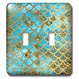 3dRose (lsp_266934_2) Double Toggle Switch (2) Sparkling Teal Luxury Elegant Mermaid Scales Glitter Effect Art Print