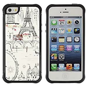 Fuerte Suave TPU GEL Caso Carcasa de Protección Funda para Apple Iphone 5 / 5S / Business Style Ferris Wheel Eifel Tower Paris Europe Ink