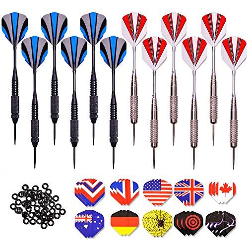 WIN.MAX 12 Pack Darts Steel Tip Darts Set 24 Grams with Aluminium Shafts, 30 PET Flights, 50 Dart Rubber Rings ()